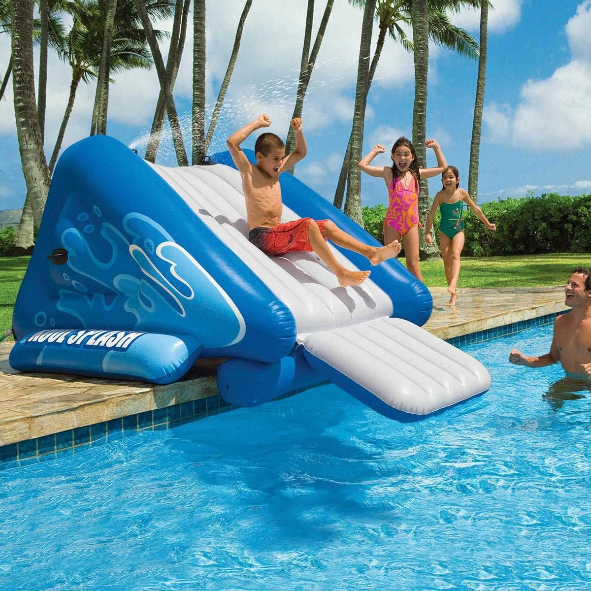 splish and splash on this awesome intex water slide this