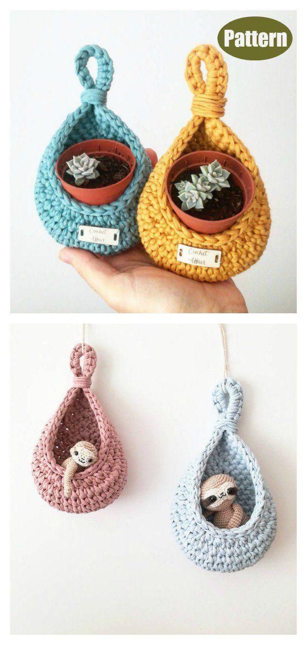 Teardrop Basket Plant Hanger Crochet Pattern #