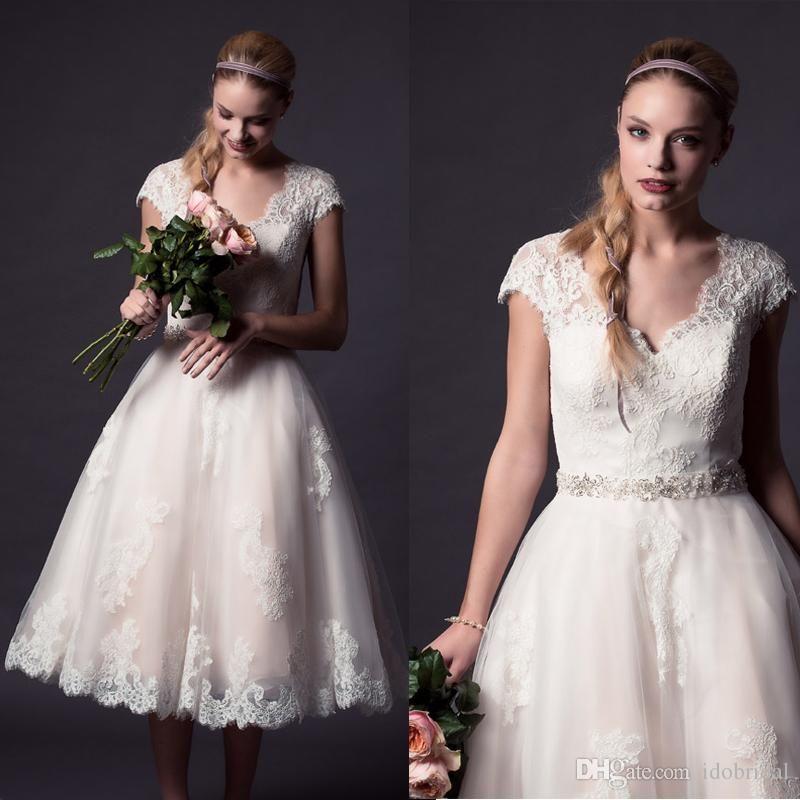 Vintage Tea Length Cap Sleeve Lace Wedding Dress