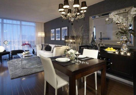 Modern Living Room Black And White Love The Dark Gray Wall Condo Interior Design Condo Interior Dining Room Decor