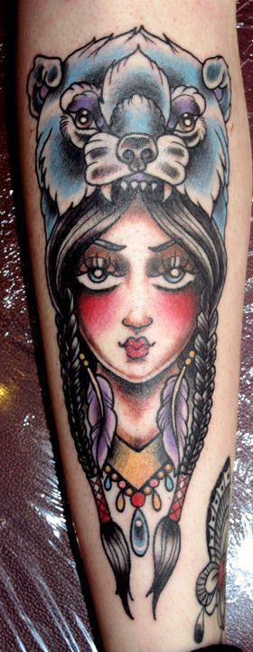 Traditional native Indian girl bear head tattoo