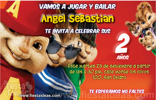 Invitaciones De Alvin Y Las Ardillas Gratis Alvin Y Las Ardillas 2 Invitaciones Ardillas