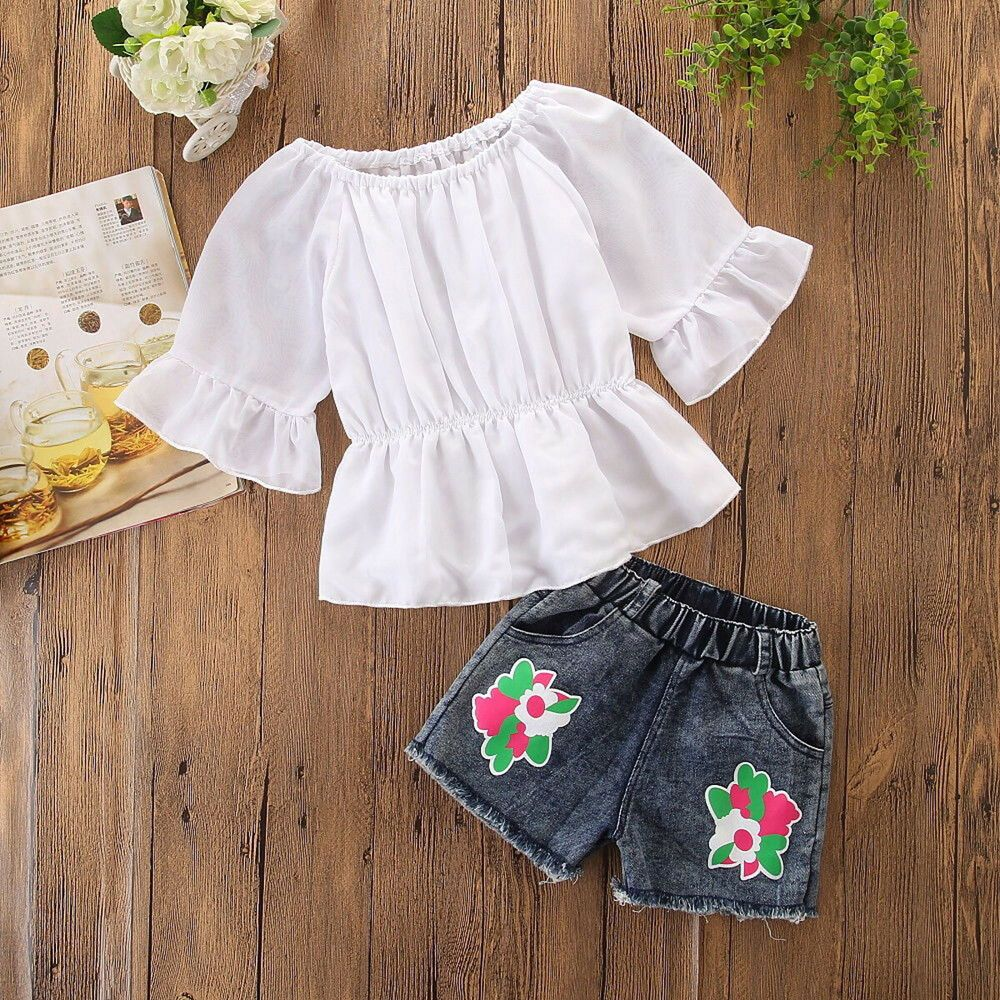 9176e3142bd Girls Clothing (Newborn-5T) by Outfits and Sets. (Sponsored)eBay - 2PCS  Kids Infant Baby Girl Lace Shirt Tops+Floral Shorts