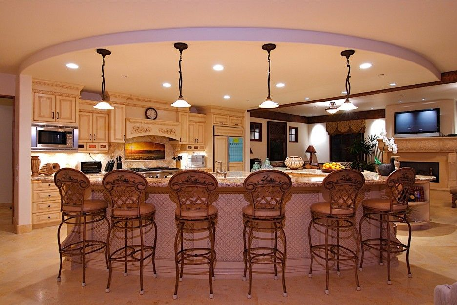 Love the curves of this kitchen kitchen layouts