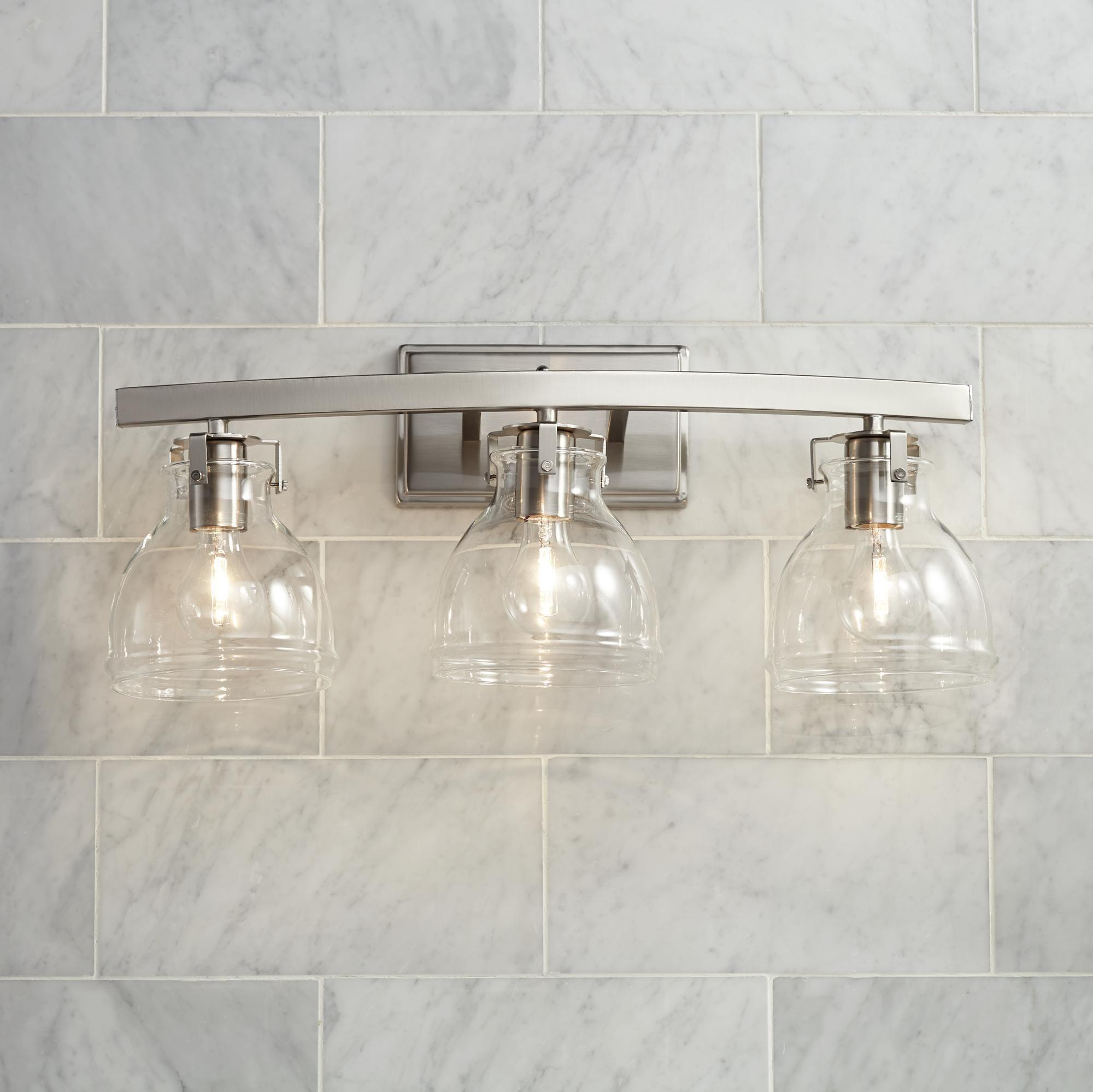 Bathroom Light Fixtures, Bathroom Lights Over Mirror Brushed Nickel