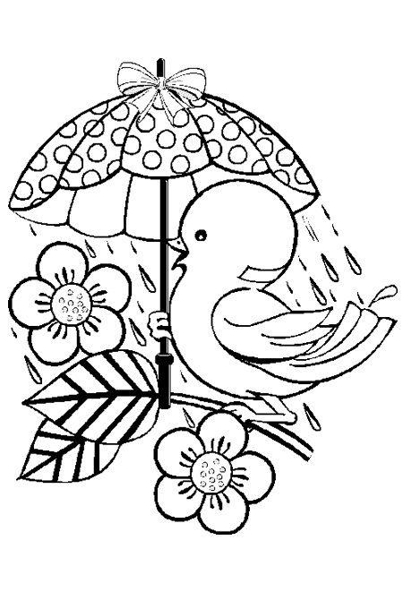 عصفور رسم يحمل مظلة تحت المطر على الغصن للتلوبن مفرغة Glass Painting Patterns Painting Patterns Hand Embroidery Designs