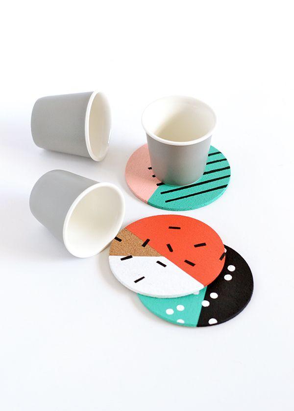 DIY Patterned Cork Coasters