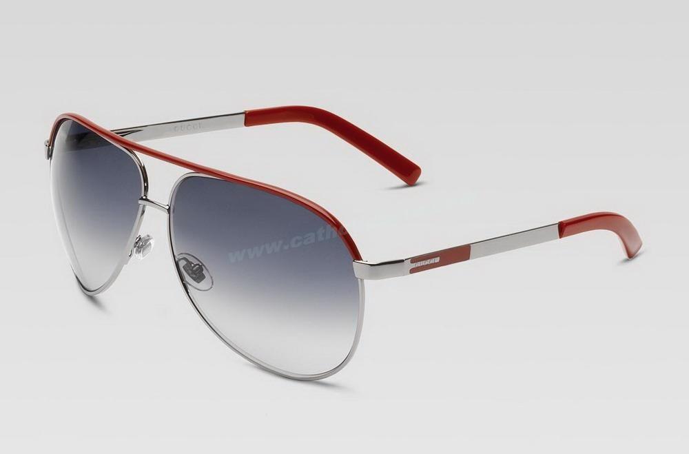 cb62cc3fc1e5 New Authentic Gucci GG 1827 S Aviator Red Ruthenium Grey Gradient Sunglasses  Sale Online For Wholesale