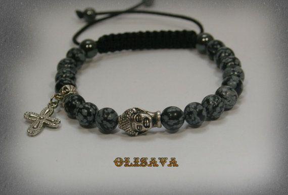 Mens Buddha Bracelet with 8 mm Snowflake Obsidian  Mala by Olisava