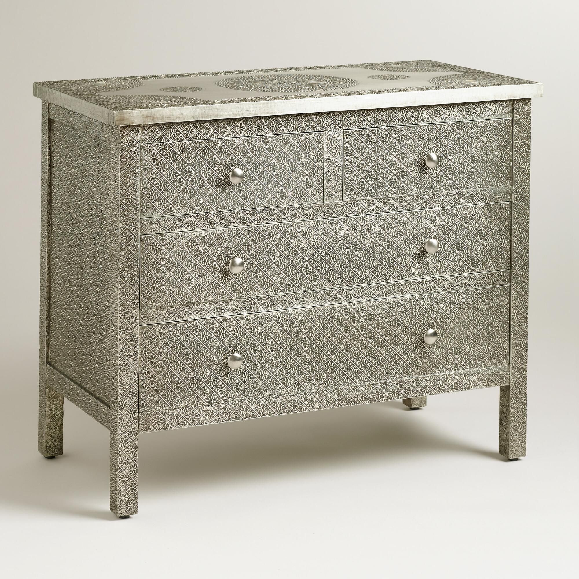 Charming Crafted Of Mango Wood Wrapped In Hand Embossed Metal, Our Kiran Embossed  Metal Dresser