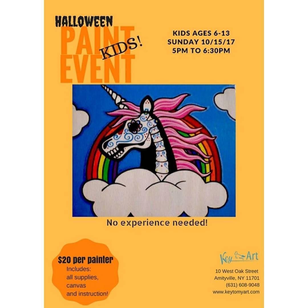 Kids Halloween paint event! #unicorn #sugarskull #rainbow #halloween ...