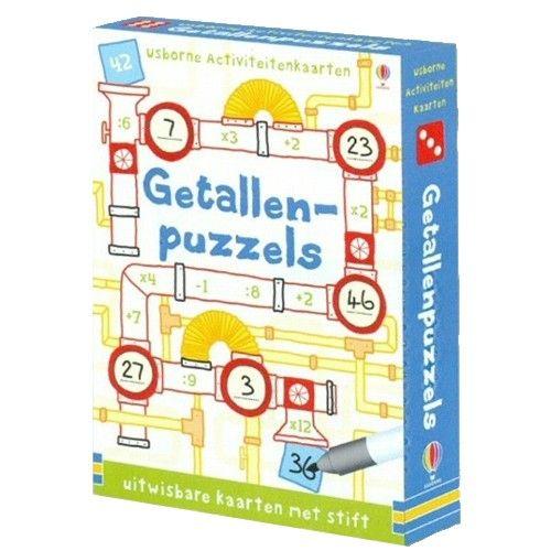 getallenpuzzels voor de midden- en bovenbouw. de kaarten worden beschreven met een uitwisbare stift, zodat ze telkens weer te gebruiken zijn.