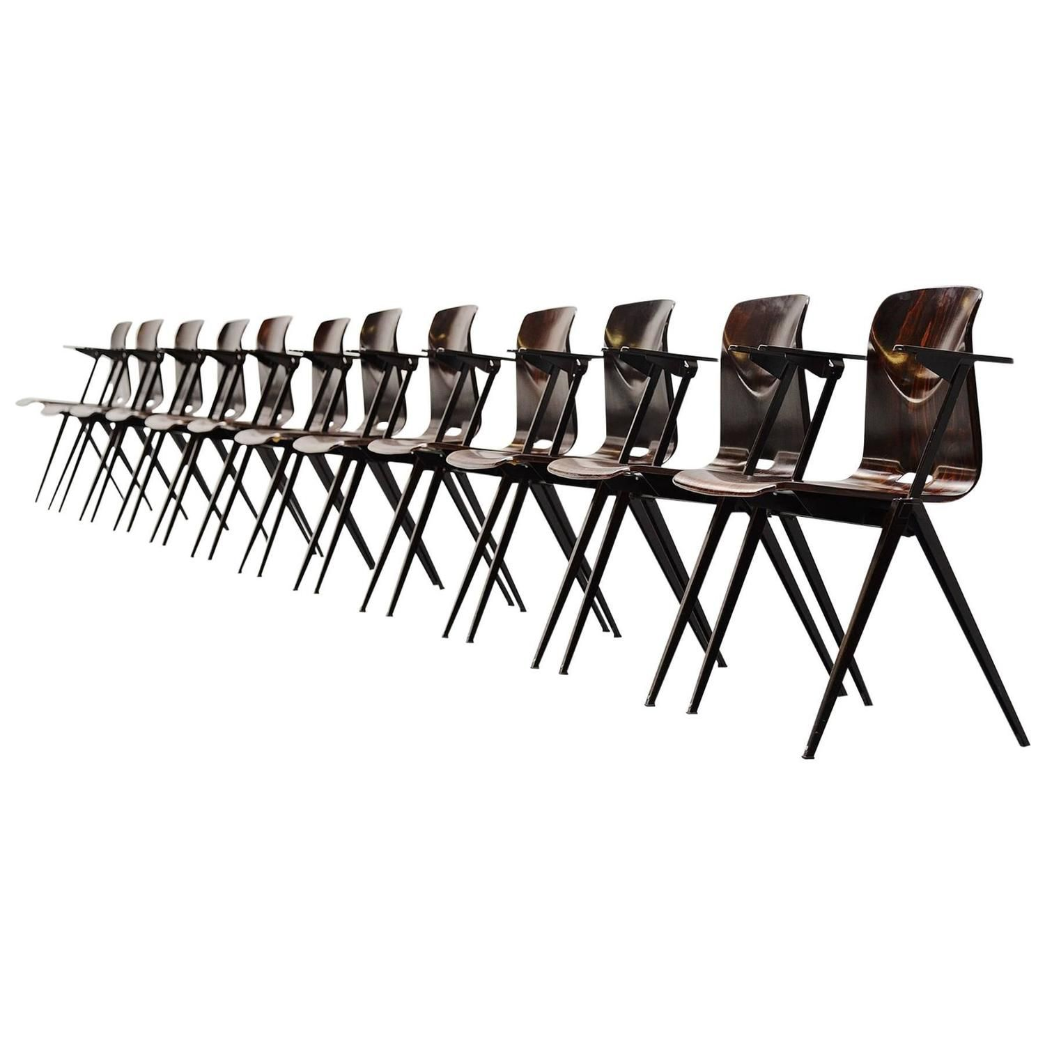 Pagholz Stacking Chairs with Arms Set of 12 Germany, 1970   From a ...