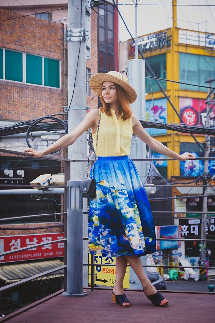 yellow blouse with structural castle skirt
