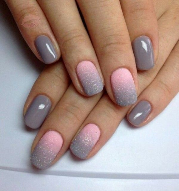 Pink N Gray Nails With Ombre Autumn Ombre Nail Art Designs Nail Art Ombre Gel Nail Art Designs