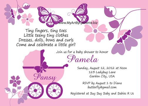 Stroller Purple Butterfly Baby Shower Invitations Pink Frame