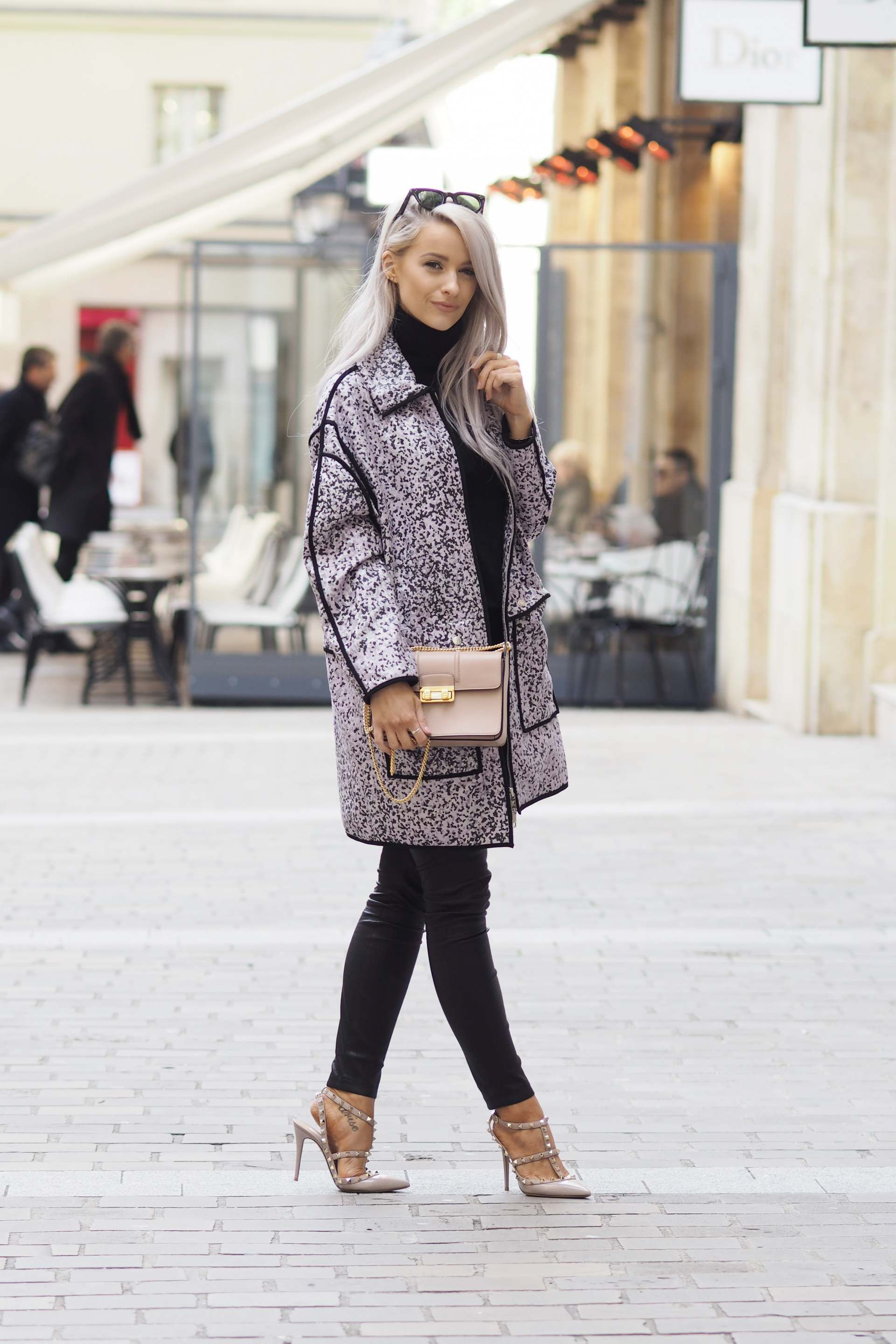 7430a8ba2c0ded inthefrow paris fashion week kenzo lilac leopard print jacket and valentino  rockstuds in powder