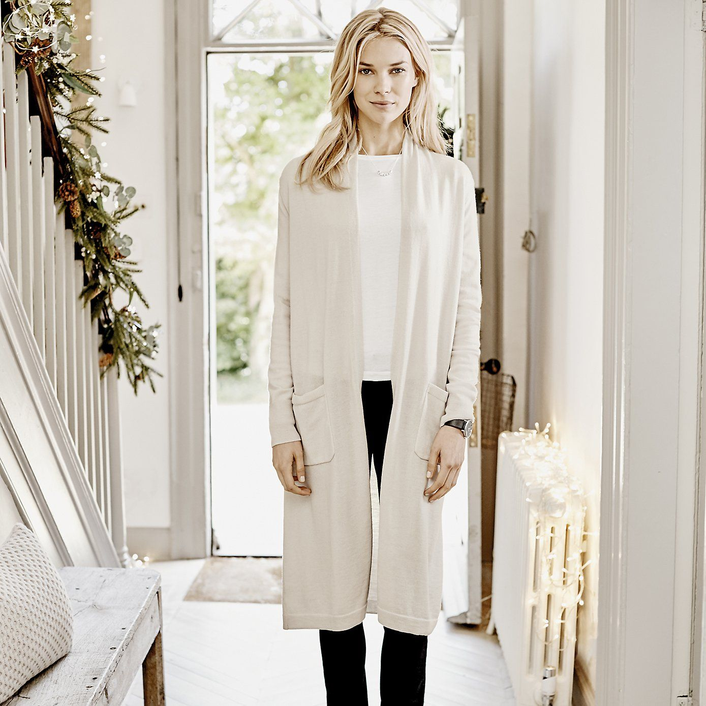 Long Pocket Cardigan - Champagne | The White Company. Shopping ...