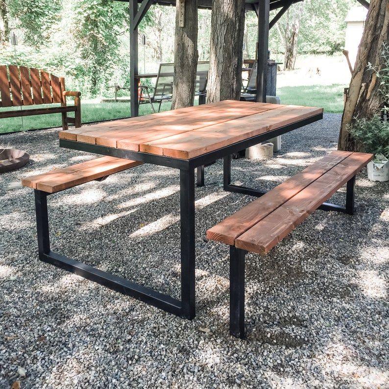 Diy Modern Industrial Picnic Table Plans 6ft Steel And Wood Etsy In 2020 Picnic Table Plans Diy Picnic Table Picnic Table