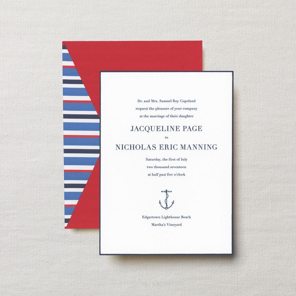 Engraved Embassy Regatta Wedding Invitation | Crane & Co ...