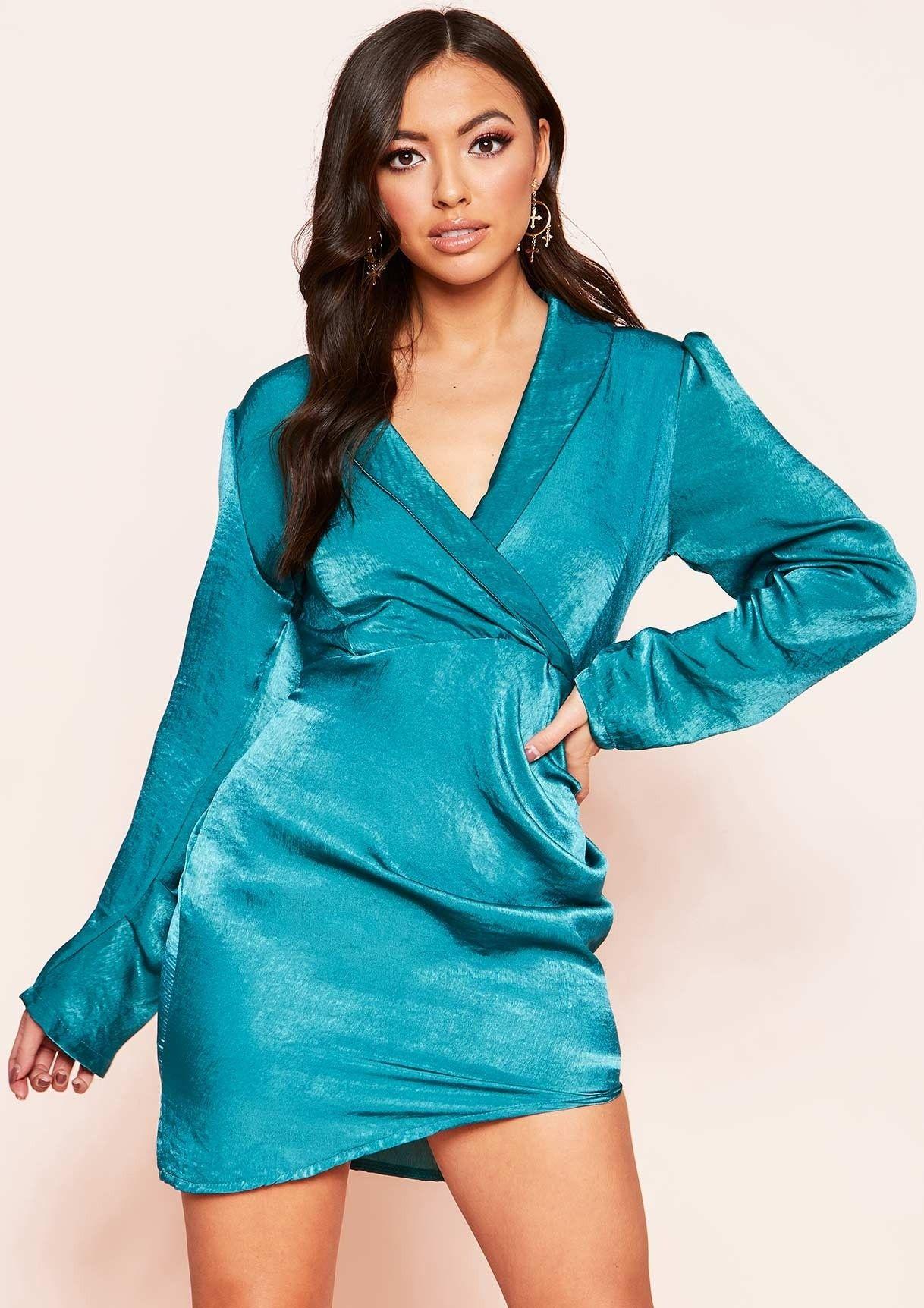 Missyempire - Izzy Teal Wrap Neckline Ruched Mini Dress 51f0e198b