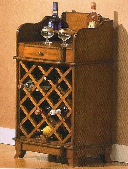 Brown Wood Finish Wine Cabinet Server Hutch Bar Unit
