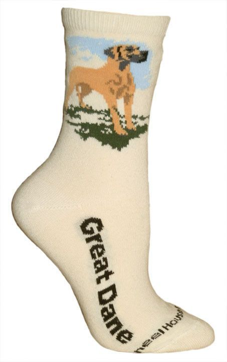 Great Dane Socks On Natural Natural Ears Socks Crew Socks