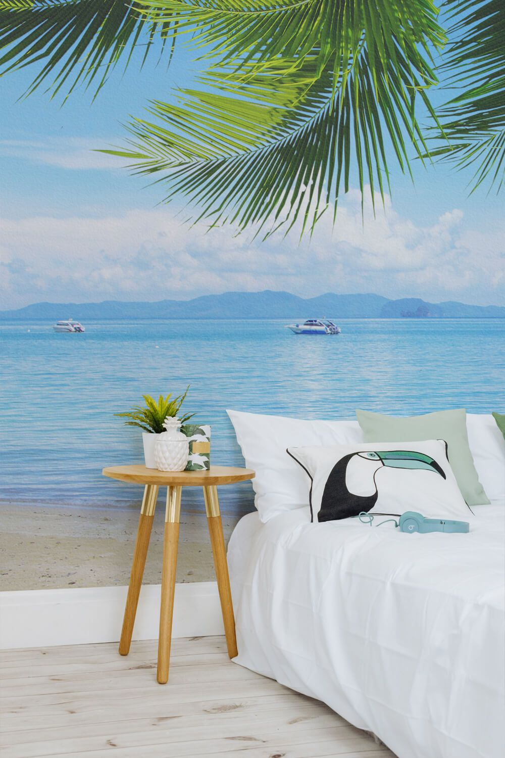 There Isn T A Better Way To Pretend You Re On Holiday Than By Bringing The Beach To Your Home And Can Certain Beach Mural Beach Wallpaper Beach Scene Wallpaper