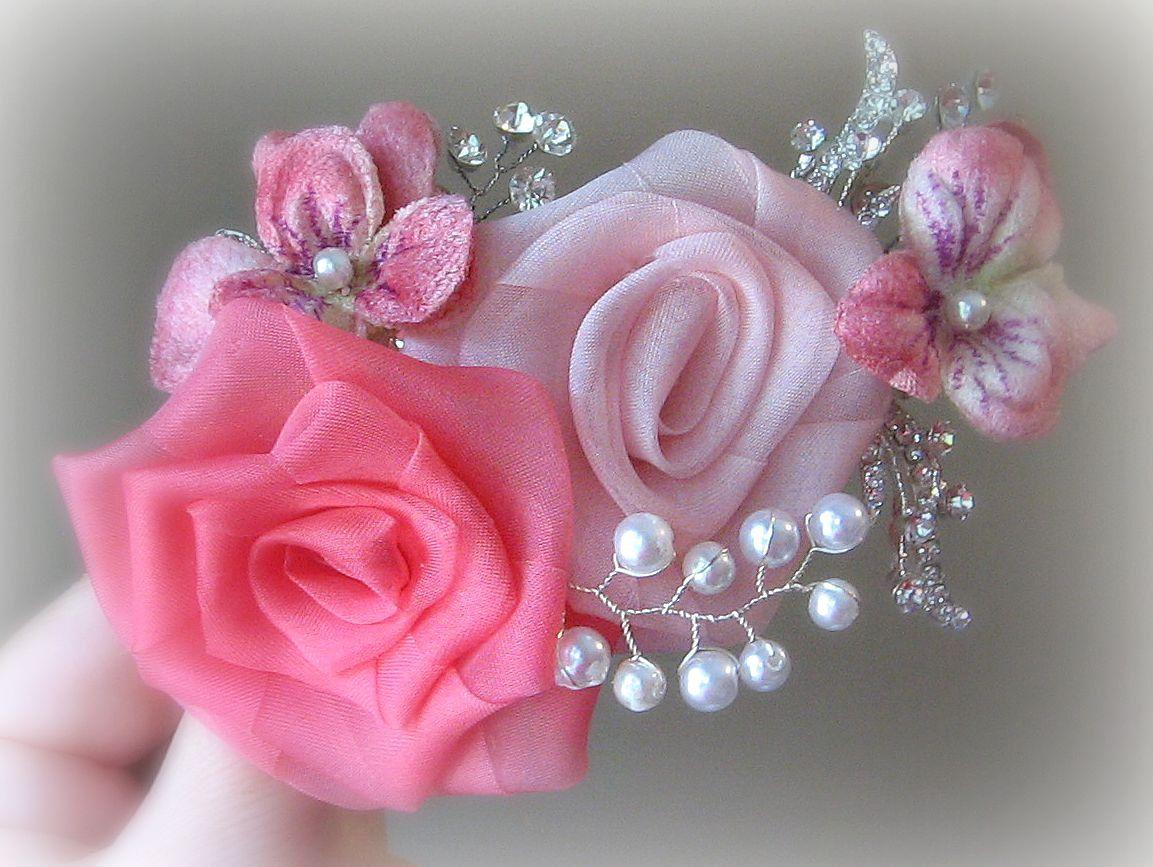 Pink Wedding Hair Flowers, Vintage Style Bridal Fascinator ...