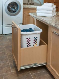 Large Pull Out Hamper Laundry Room Design
