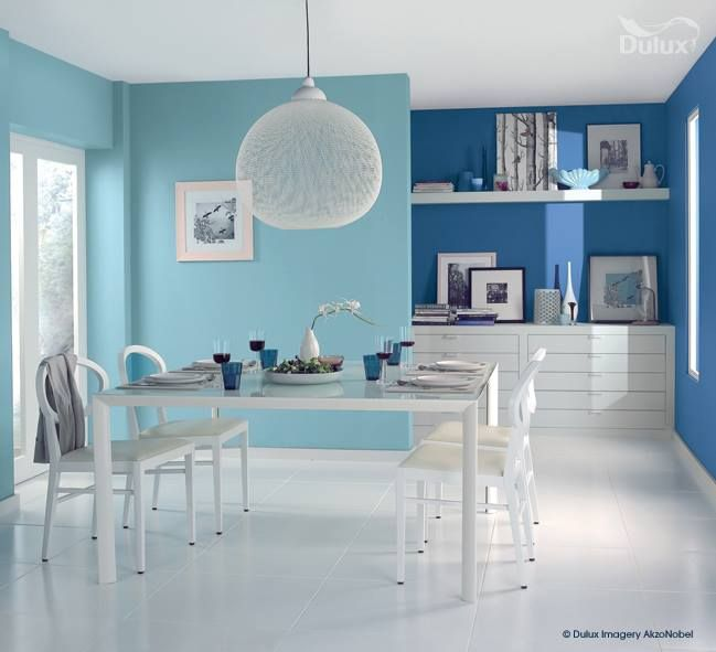 Here We See How A Two Tone Blue Room Can Be So Effective Paint Interior Decor Dining Room