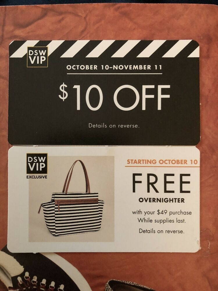 Details about DSW 10 off Coupon DSW VIP Overnight Bag