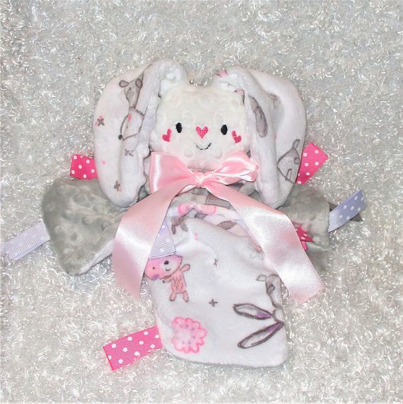 Personalized baby bunny lovey pink gray minky security blanket personalized baby bunny lovey pink gray minky security blanket unique baby gift negle Choice Image