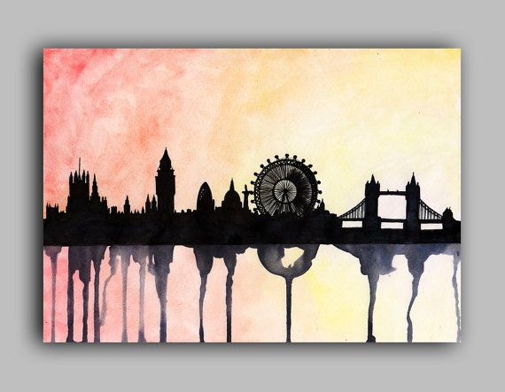 <3 LOVE: London Skyline Watercolour LARGE by paintthemoment on Etsy, £10.00