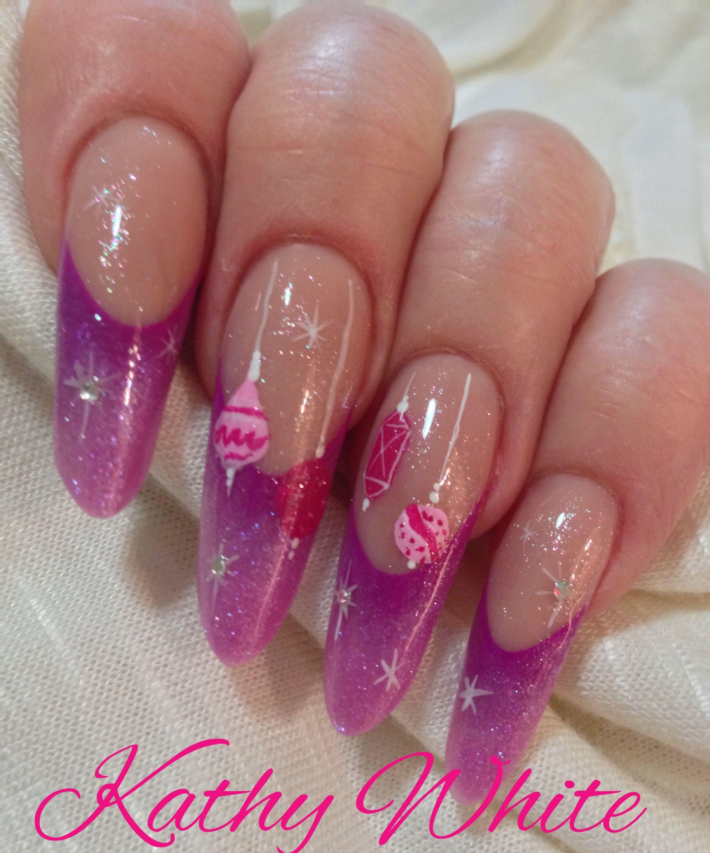 Acrylic Purple Nails With Pink Christmas Nail Art