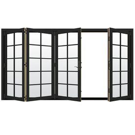 Jeld-Wen W-4500 124.1875-In 10-Lite Glass Chestnut Bronze Wood Folding Outswing Patio Door Lowoljw219003666
