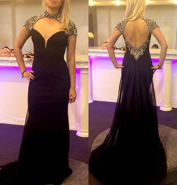 Black Queen Anne Beading Sheath Prom Dresses 2017 Unique Prom Dresses Fitted Prom Dresses Prom Dresses