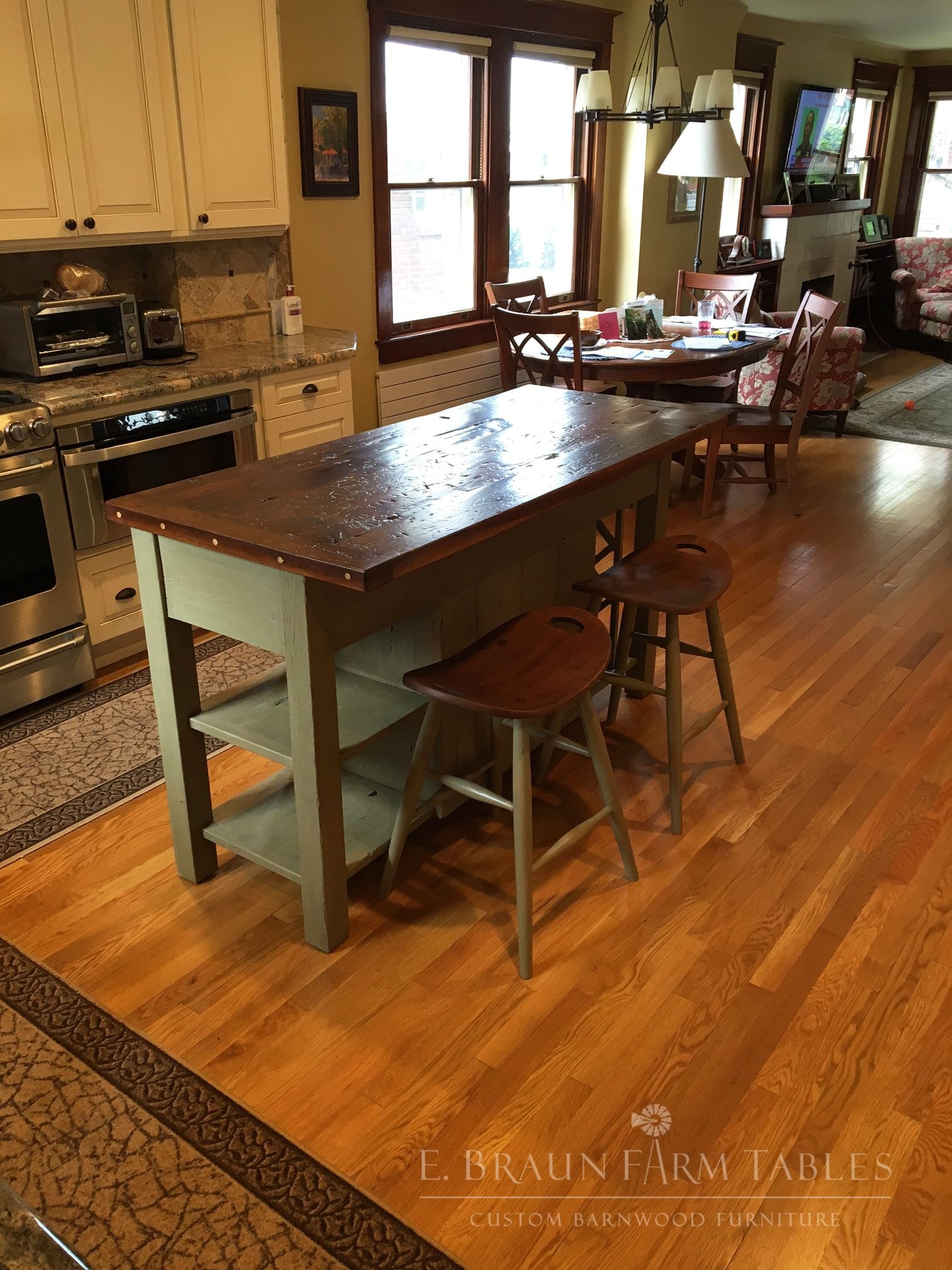 Custom Reclaimed Barn Wood Kitchen Island With Two Saddle Stools Wine Rack On Opposite End