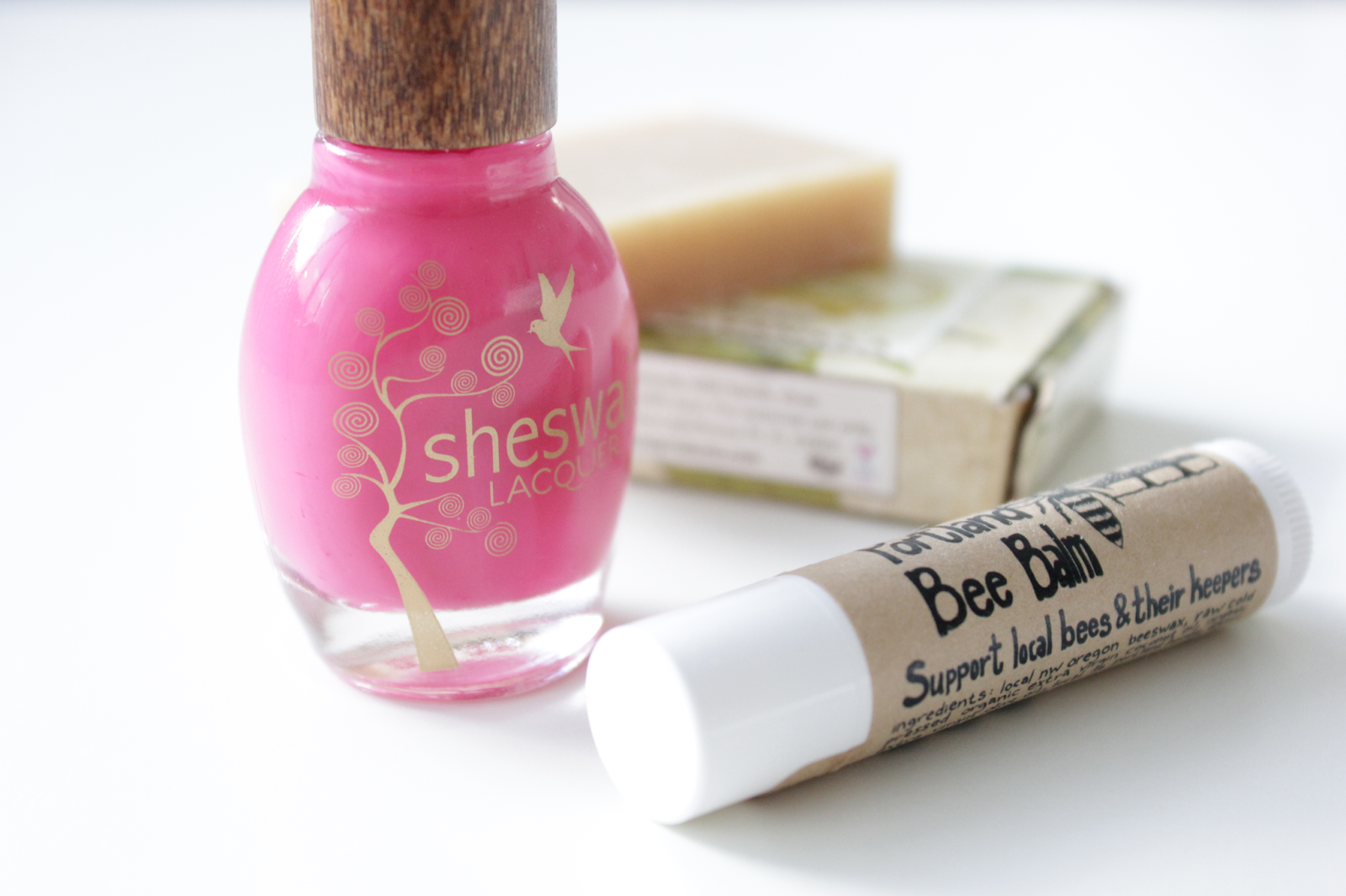sheswai nail lacquer and portland bee balm via that's just