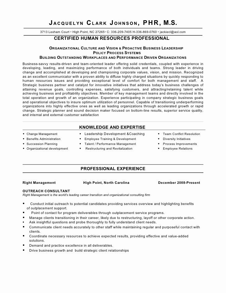 Human Resource Manager Resume Examples Awesome Strategic Thinker
