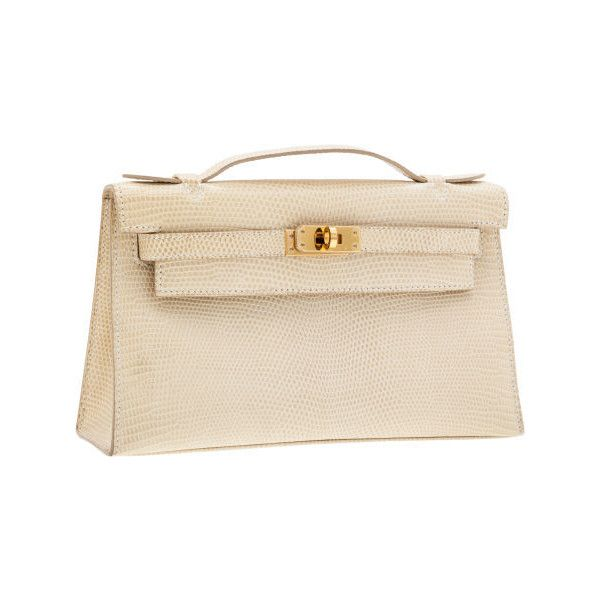 3b23f38706f2 Hermes Parchment Lizard Kelly Pochette Bag with Gold Hardware ❤ liked on  Polyvore featuring bags