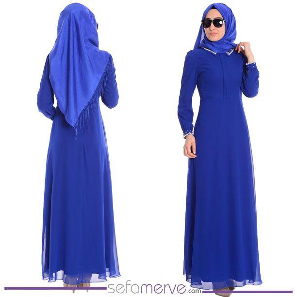 Islemeli Sifon Elbise 7035a 08 Saks Sefamerve Tesetturgiyim Tesettur Hijab Tesettur Elbise Sifon Elbise Elbise The Dress