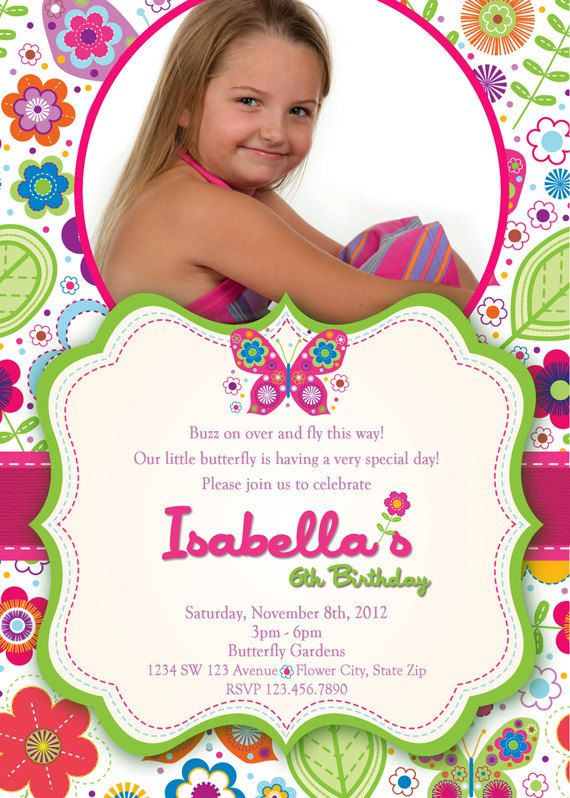 butterfly invitation butterflies and flowers by artisacreations, Birthday invitations