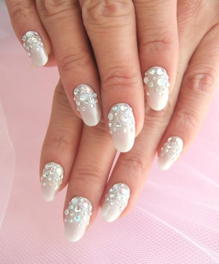 Wedding Nail Designs Design See More About White Nails And Rhinestone