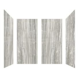 Curava Porcelain Gray White Gloss Shower Wall Surround Panel Kit