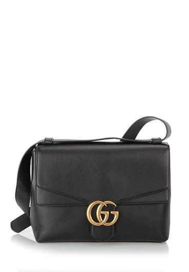 7ddde35b0ea Shoulder bag  GG Marmont  large by Gucci in black leather with antique  metal double G closure and adjustable shoulder strap. Two internal  compartments fully ...
