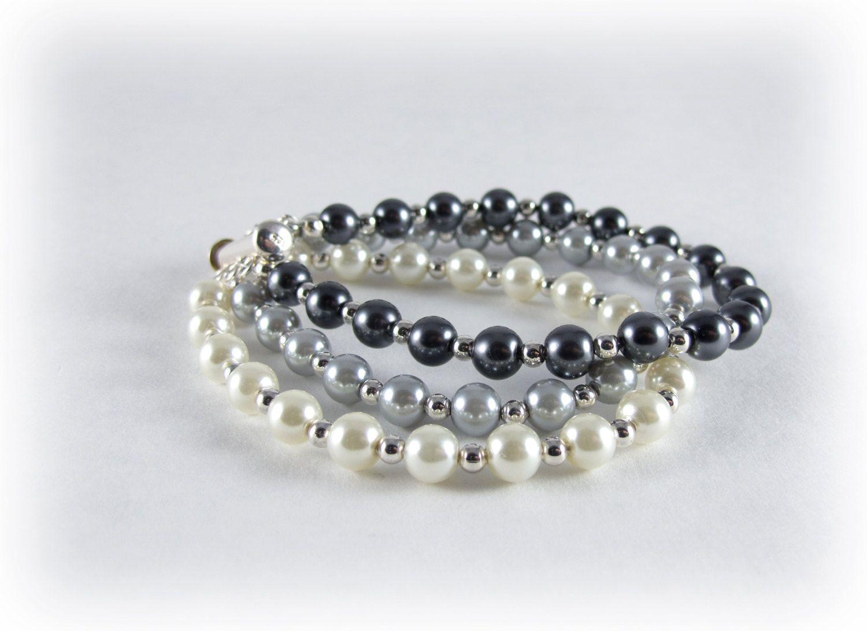 Shades Of Gray Bracelet- Light Medium and Dark Pearl Bracelet- Three Strand Pearl Bracelet. $18.00, via Etsy.