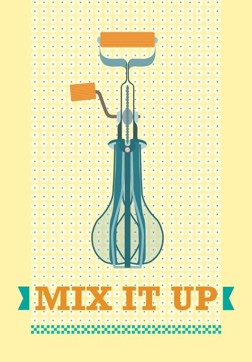 Mid Century Kitchen Art Poster Vintage Retro Hand Mixer Illustration  Inspired In Mid Century Poster Art Prints In Yellow   Poster Size