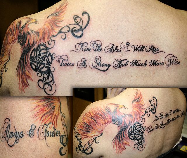 "Pheonix tattoo ""From the ashes I will rise, twice as ..."