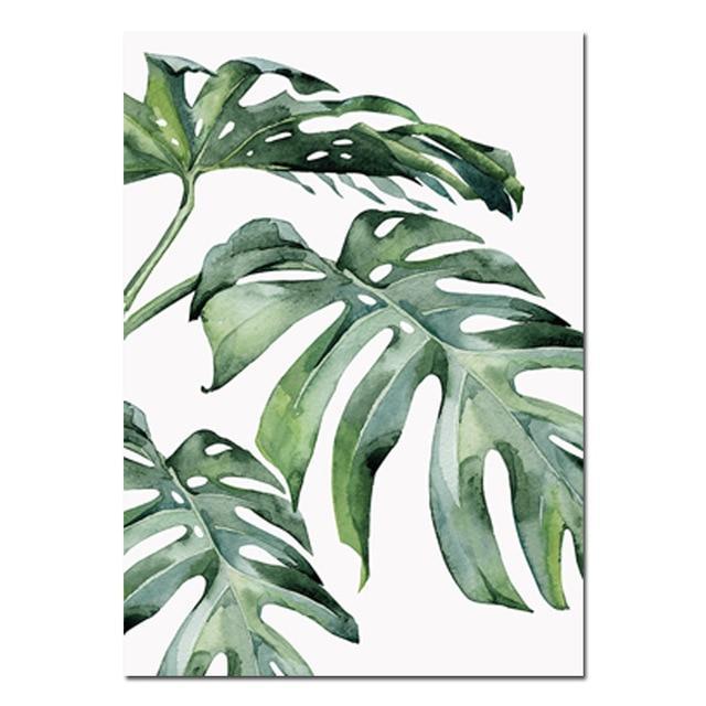 Photo of Hermosas hojas tropicales Acuarela Plantas de la casa Carteles Impresiones en lienzo de bellas artes Decoración nórdica de estilo interior para salas de cocina modernas